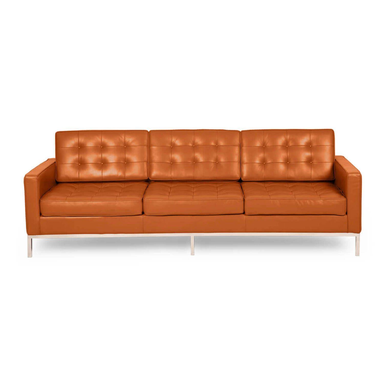 Оранжевый кожаный трехместный диван Florence, в стиле модерн\лофт, экокожа