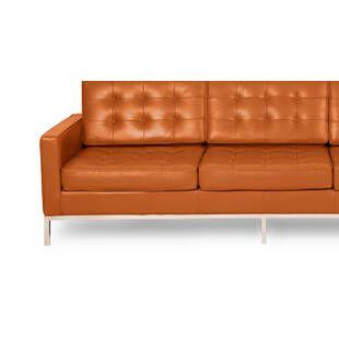 Оранжевый кожаный трехместный диван Florence, экокожа