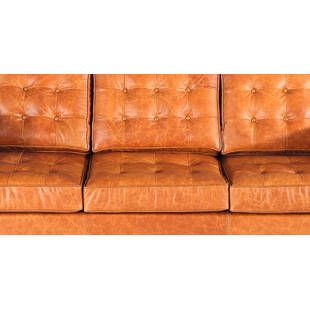 Трехместный диван Florence, оранжевая винтажная кожа
