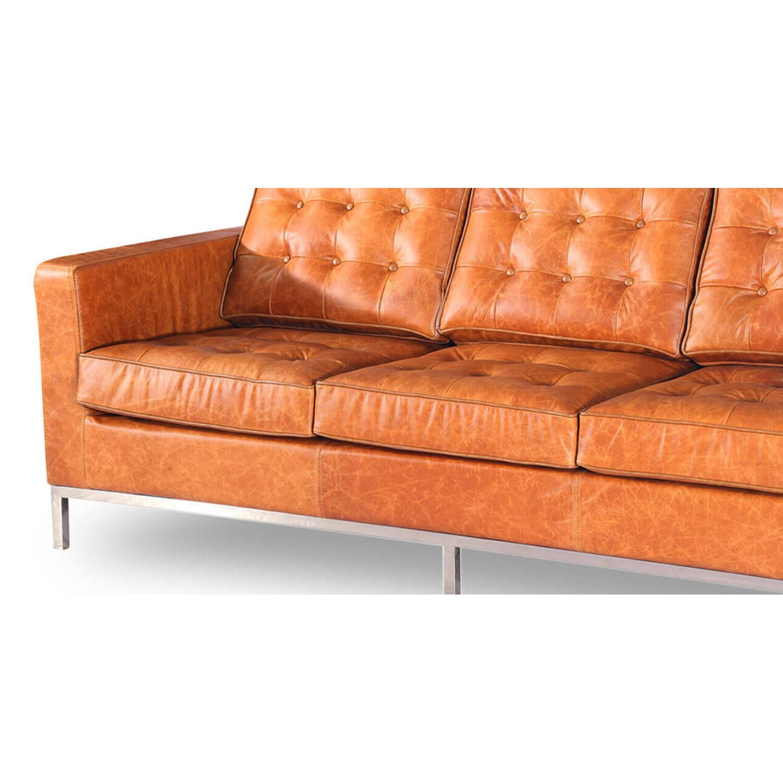 Трехместный диван Florence, оранжевая винтажная кожа, в стиле модерн\лофт