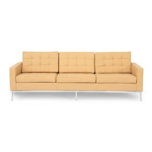 Песочный кожаный трехместный диван Florence, экокожа