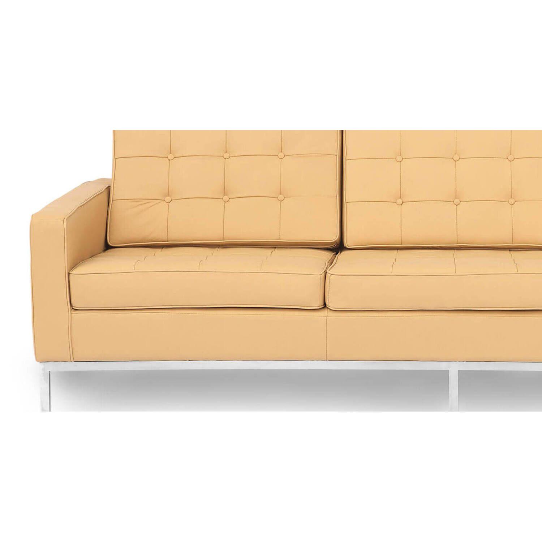 Песочный кожаный трехместный диван Florence, в стиле модерн\лофт, экокожа