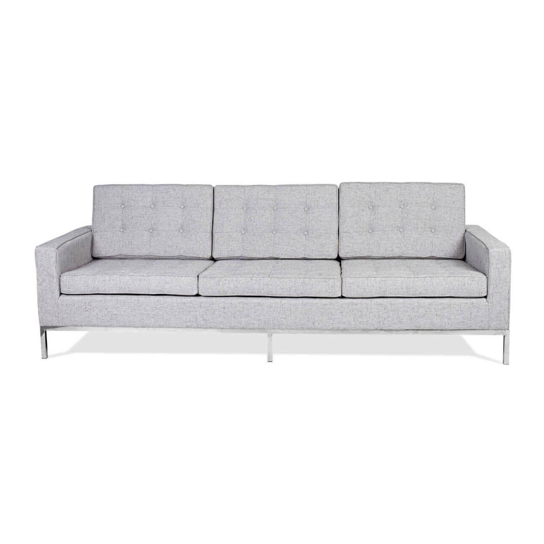 Светло-серый трехместный диван Florence