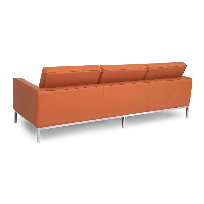 Терракотовый кожаный трехместный диван Florence, экокожа