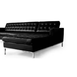 Черный кожаный модульный диван Florence