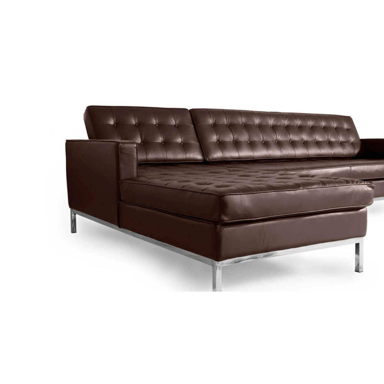 Коричневый кожаный модульный диван Florence, в стиле модерн\лофт, экокожа