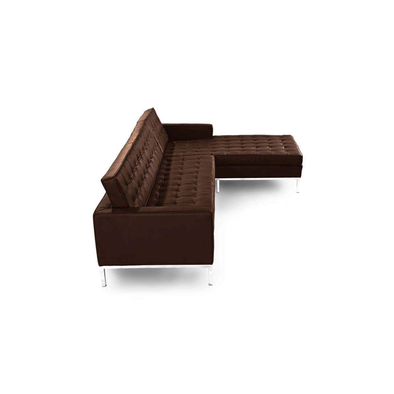 Коричневый кожаный модульный диван Florence