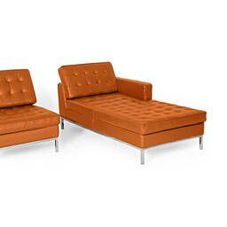 Оранжевый кожаный модульный диван Florence, в стиле модерн\лофт