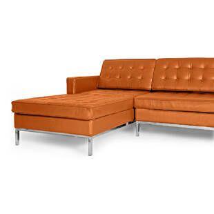 Оранжевый кожаный модульный диван Florence