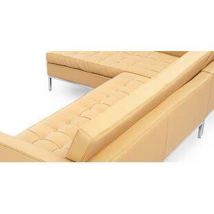 Песочный кожаный модульный диван Florence