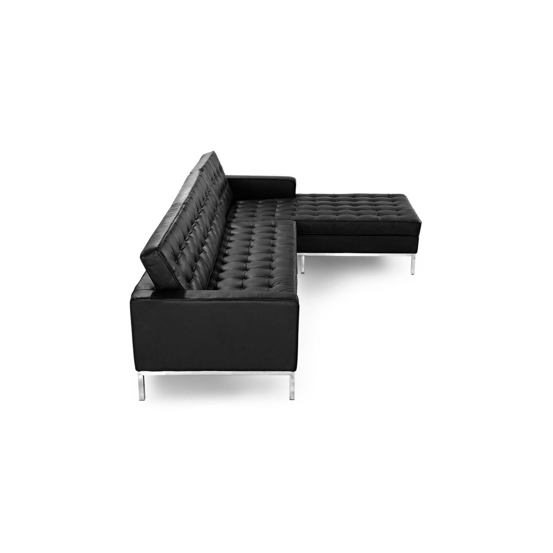 Черный кожаный модульный диван Florence, в стиле модерн\лофт, экокожа