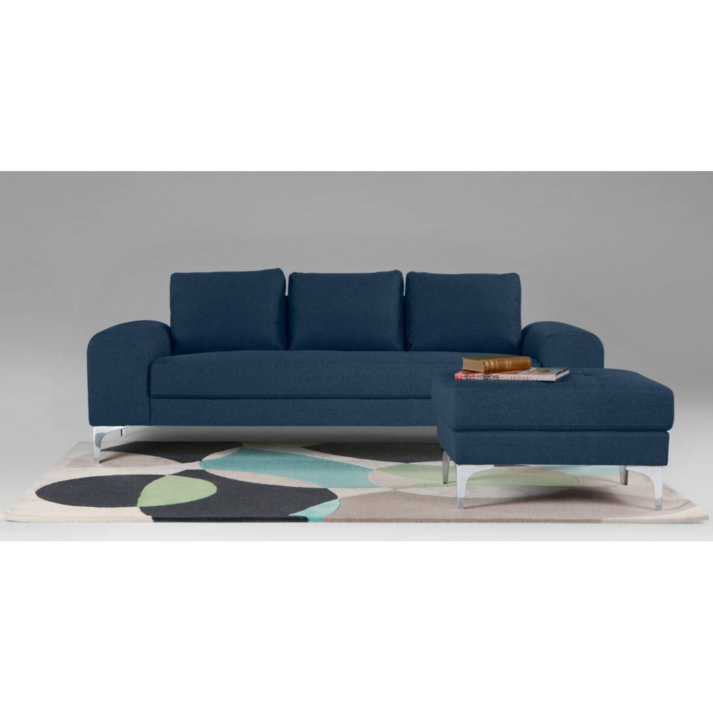 Прямой синий диван Vittorio