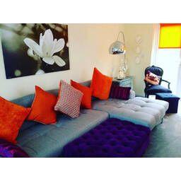 Прямой серый диван Vittorio