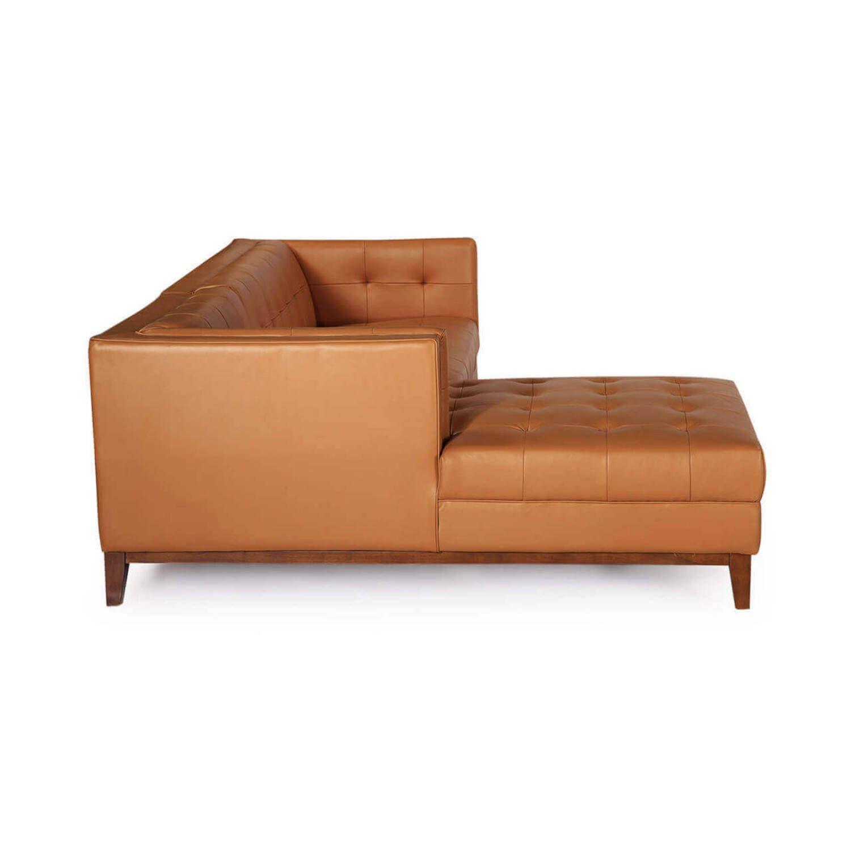 Оранжевый кожаный модульный диван Harrison