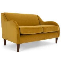 Диван Helena, на деревянных ножках, желтый двухместный