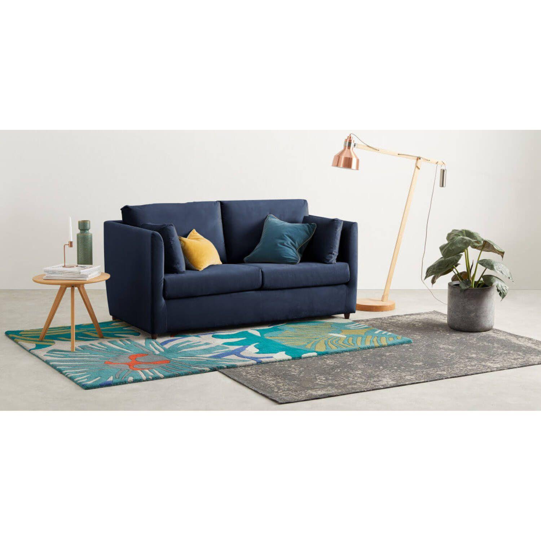 Диван-кровать Milner, прямой, синий микровельвет