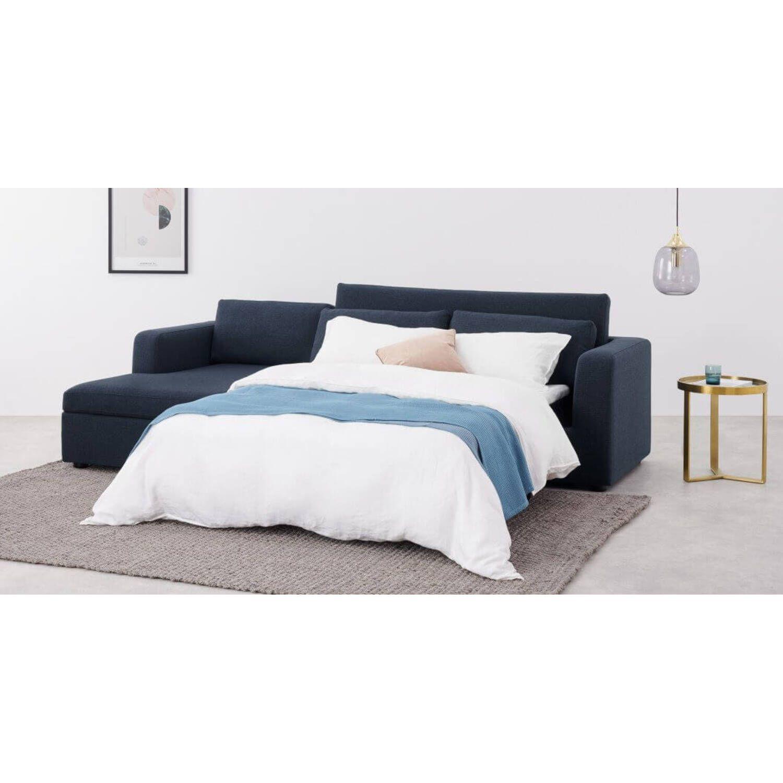 Диван со спальным механизмом Mogen угловой, синий, рогожка