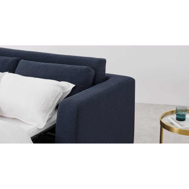 Диван со спальным механизмом Mogen прямой, синий, рогожка