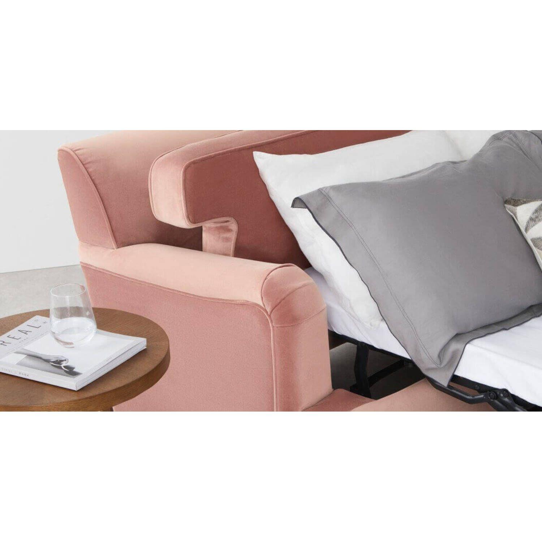 Диван со спальным местом Orson, прямой, розовый