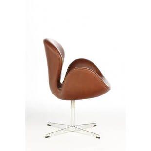 Коричневое кожаное кресло Swan
