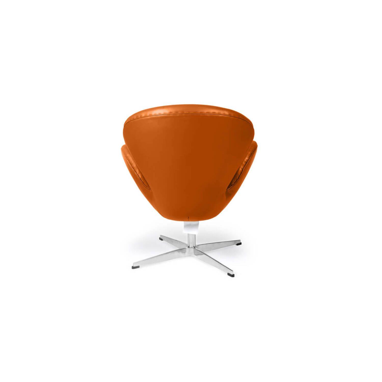 Рыжее кожаное кресло Swan