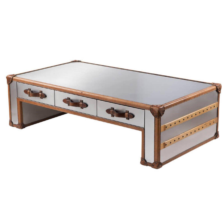 Дизайнерский стол в стиле Авиатор Metal&Wood&Leather Aviator Coffee Table