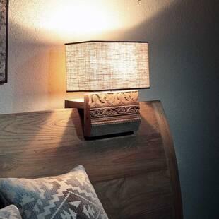 Светильник из дерева ценных пород с резьбой Anteak
