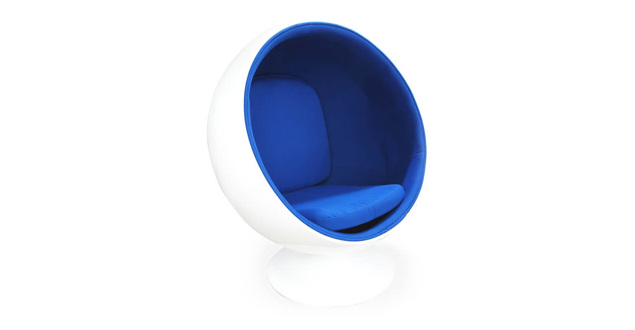 Кресло шар ball chair бело синее
