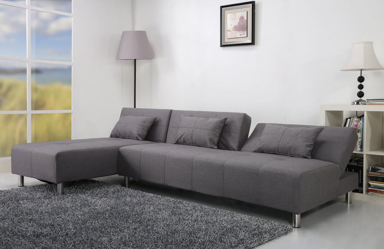 Угловой серый диван с механизмом книжка