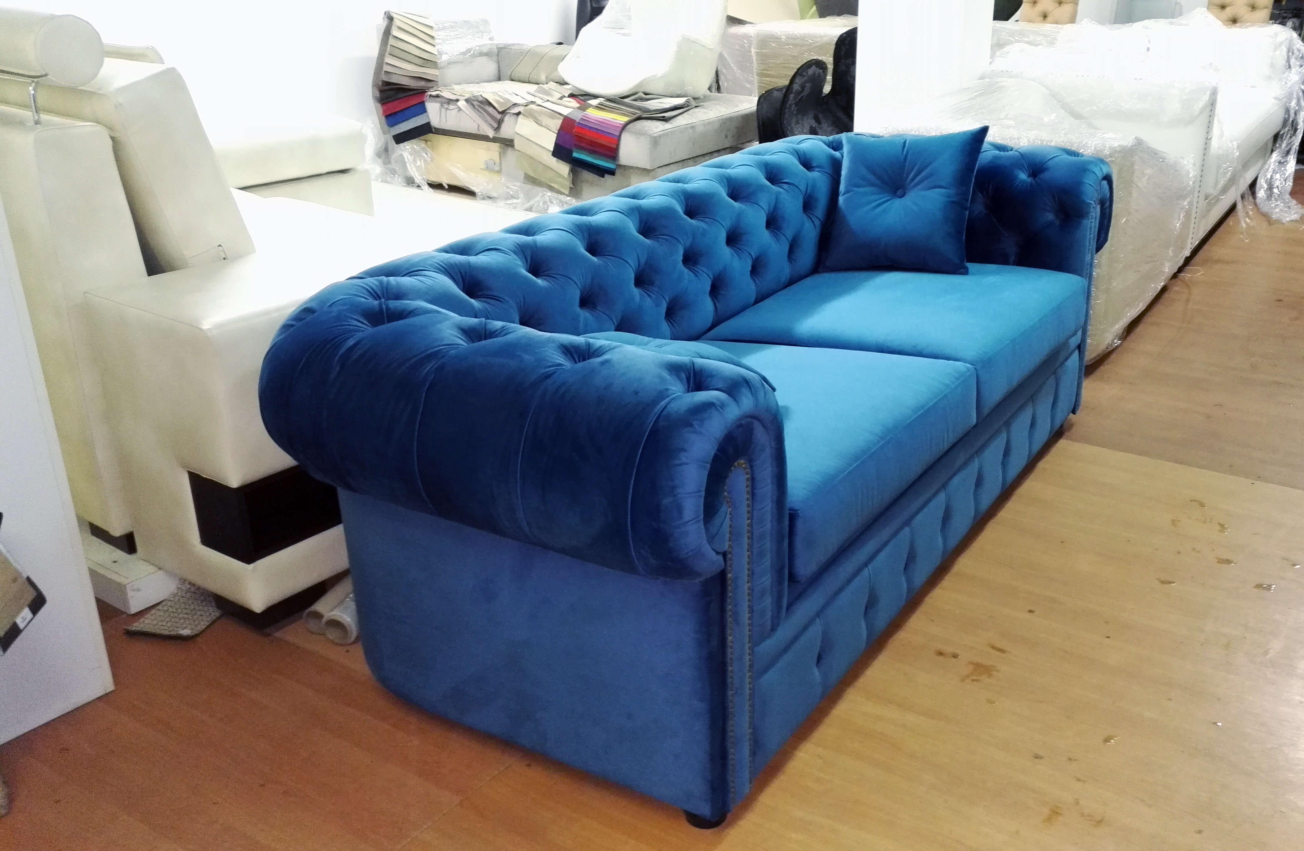Синий диван Честер