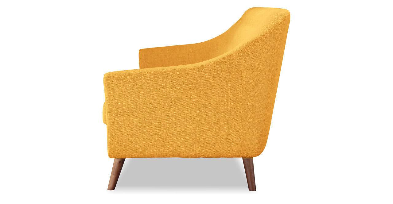 Узкий прямой желтый диван для кухни