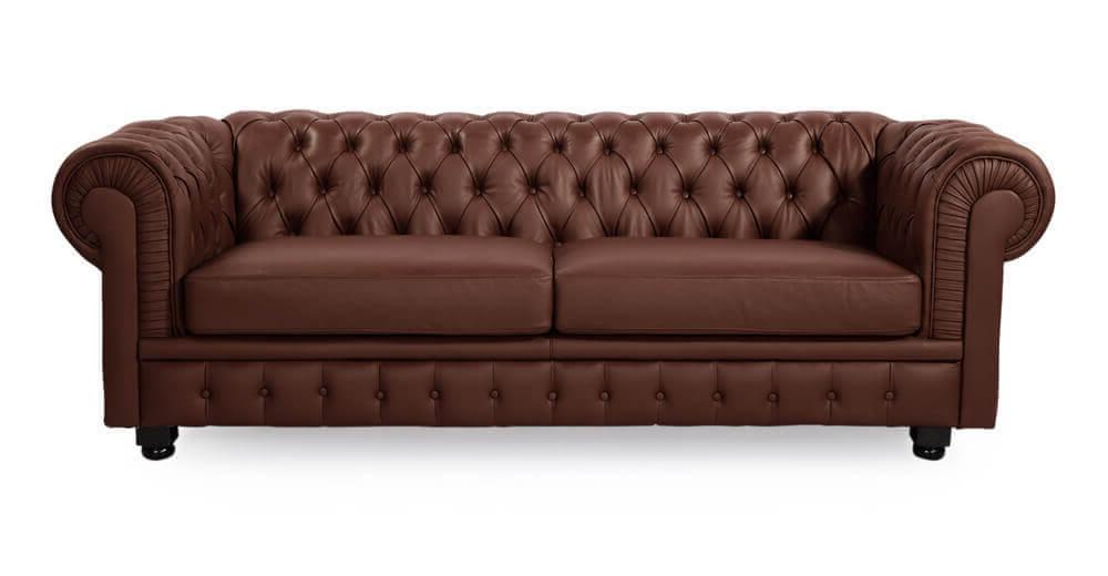 Диван Честер, кожа, коричневый