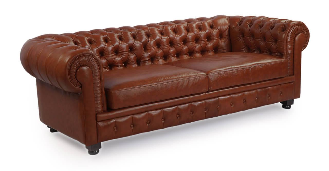 Кожаный диван Честерфилд, коричневый