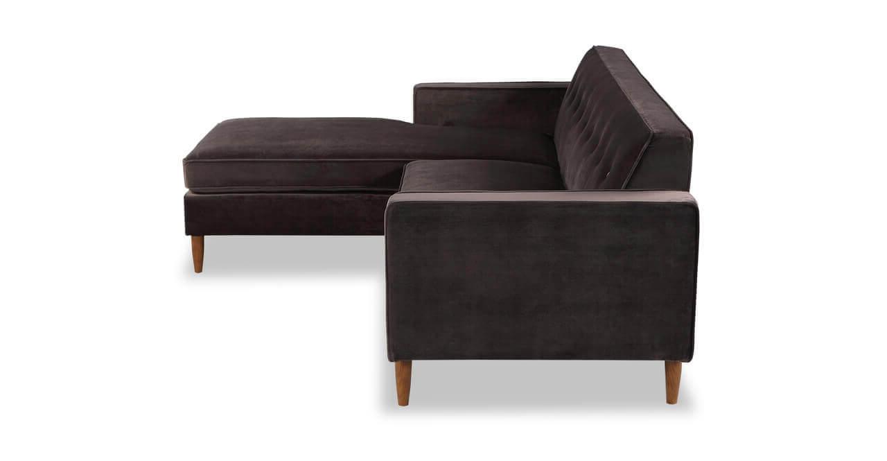 Угловой коричневый диван в тканевой обивке