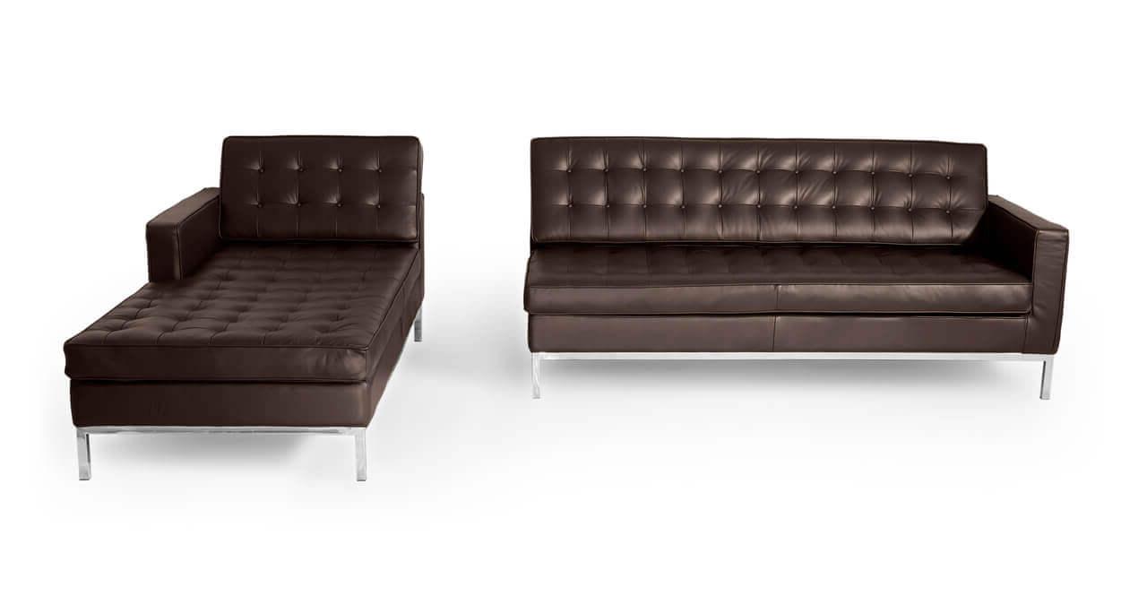 Кожаный модульный угловой левосторонний диван
