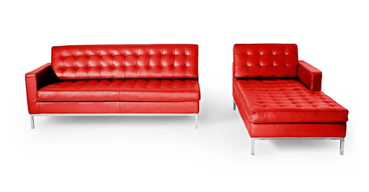 Универсальный диван красный кожаный