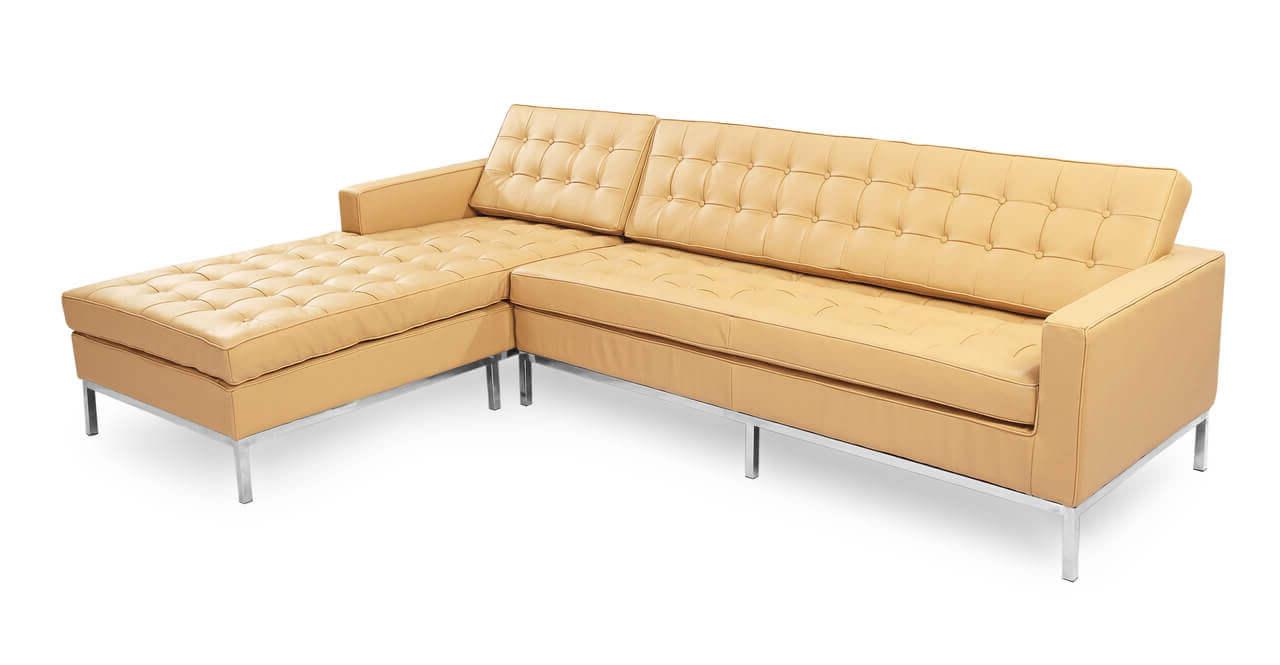 Большой угловой диван - песочная кожа