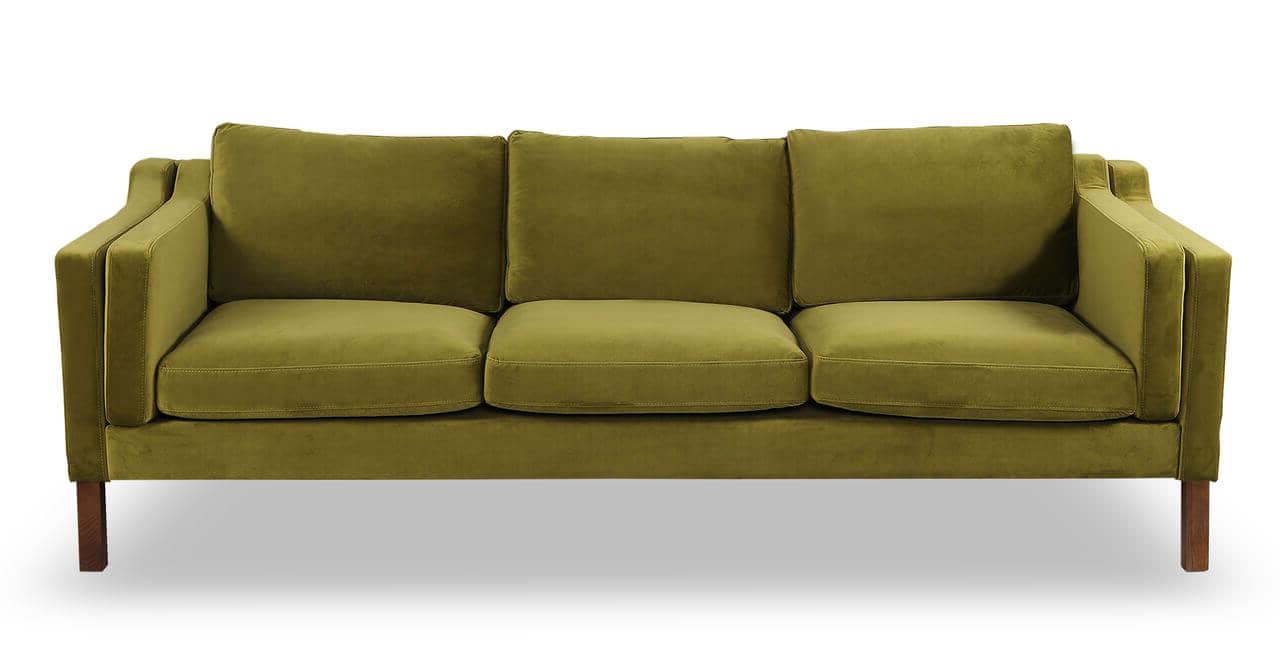 Прямой зеленый диван для кухни